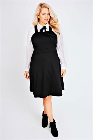 Black Ponte Skater Pinafore Dress With Pockets | PS | Plus size ...