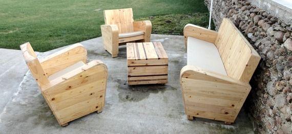 Salon de jardin complet en bois de récupération | salon de jardin ...