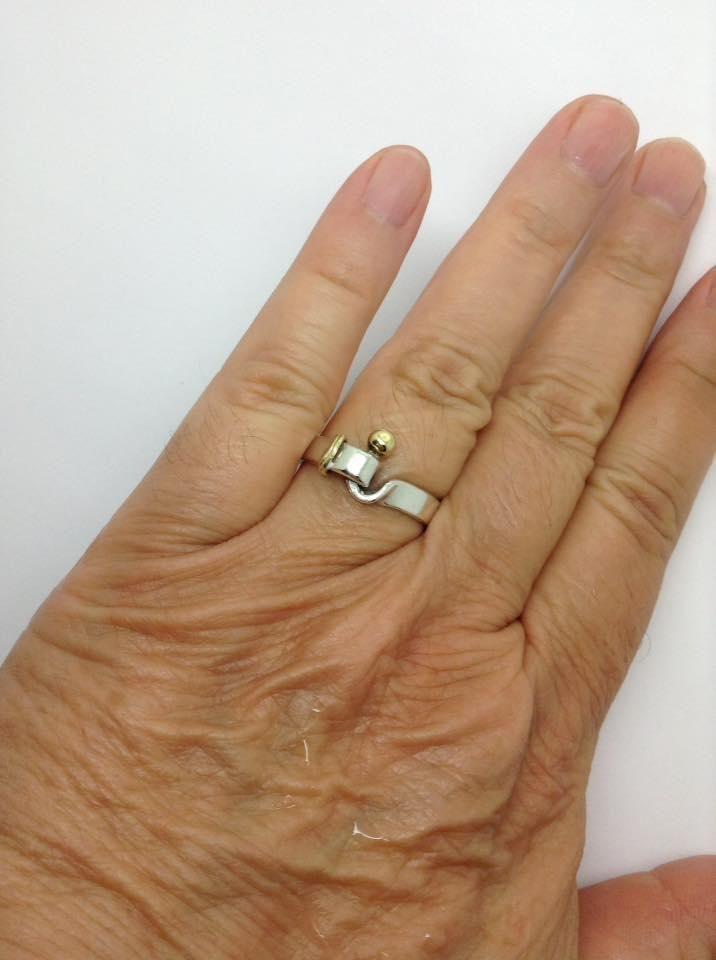 1a21064b2 sterling silver, 18k yellow gold, unisex, fashion, hook eye ring. Free