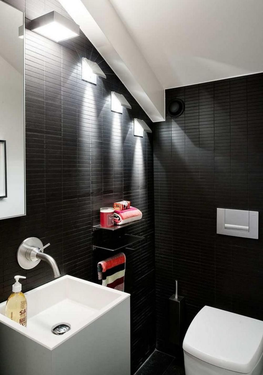 Dramatic bathroom wall lighting design with black color for Bathroom lighting design tips