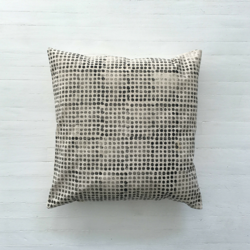 Dot Print Cushion Cover. All Hereware fabrics are designed and printed by hand in our studio in Toronto, Canada.