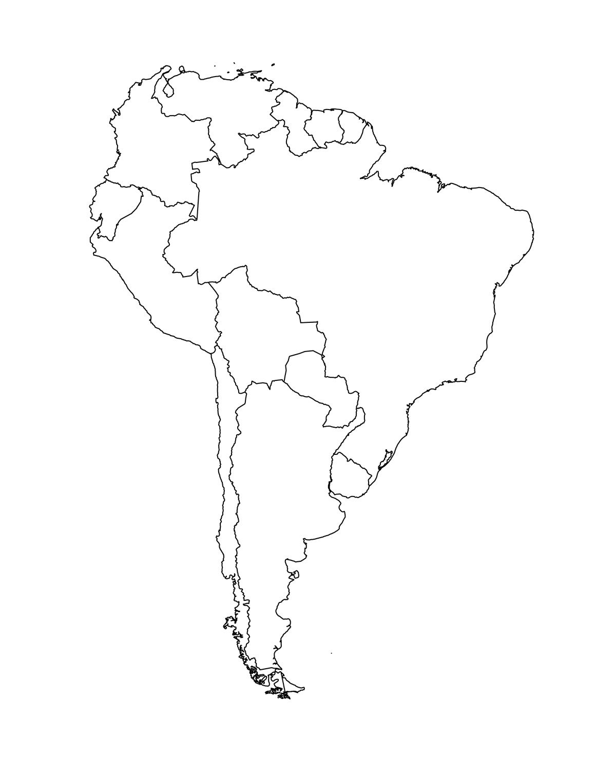 Blank Map Of South America Template South America Map America