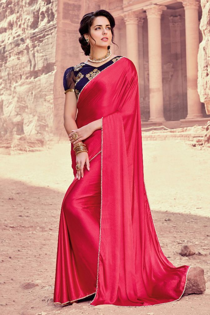 c5771982e5 This Super Stylish Satin,Silk Fabric Saree Is Exclusively Crafted With  Embroidery,Lace Work Work. The Pink Colour Saree Comes With Matching Blouse  Fabric of ...