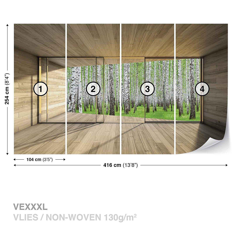 Fototapete fenster wald  Fenster Wald Bäume Grün Natur Fototapete Wandbild Fototapeten Bild ...