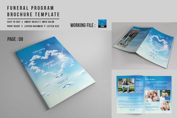 Page Funeral Booklet TemplateV By Template Shop On
