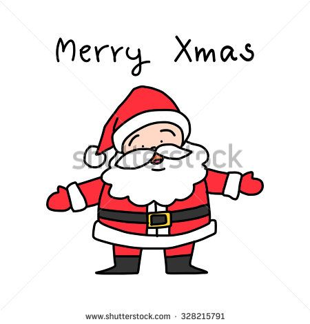 Christmas Celebration Images For Drawing.Hand Drawing Cartoon Santa Claus Vector Illustration For