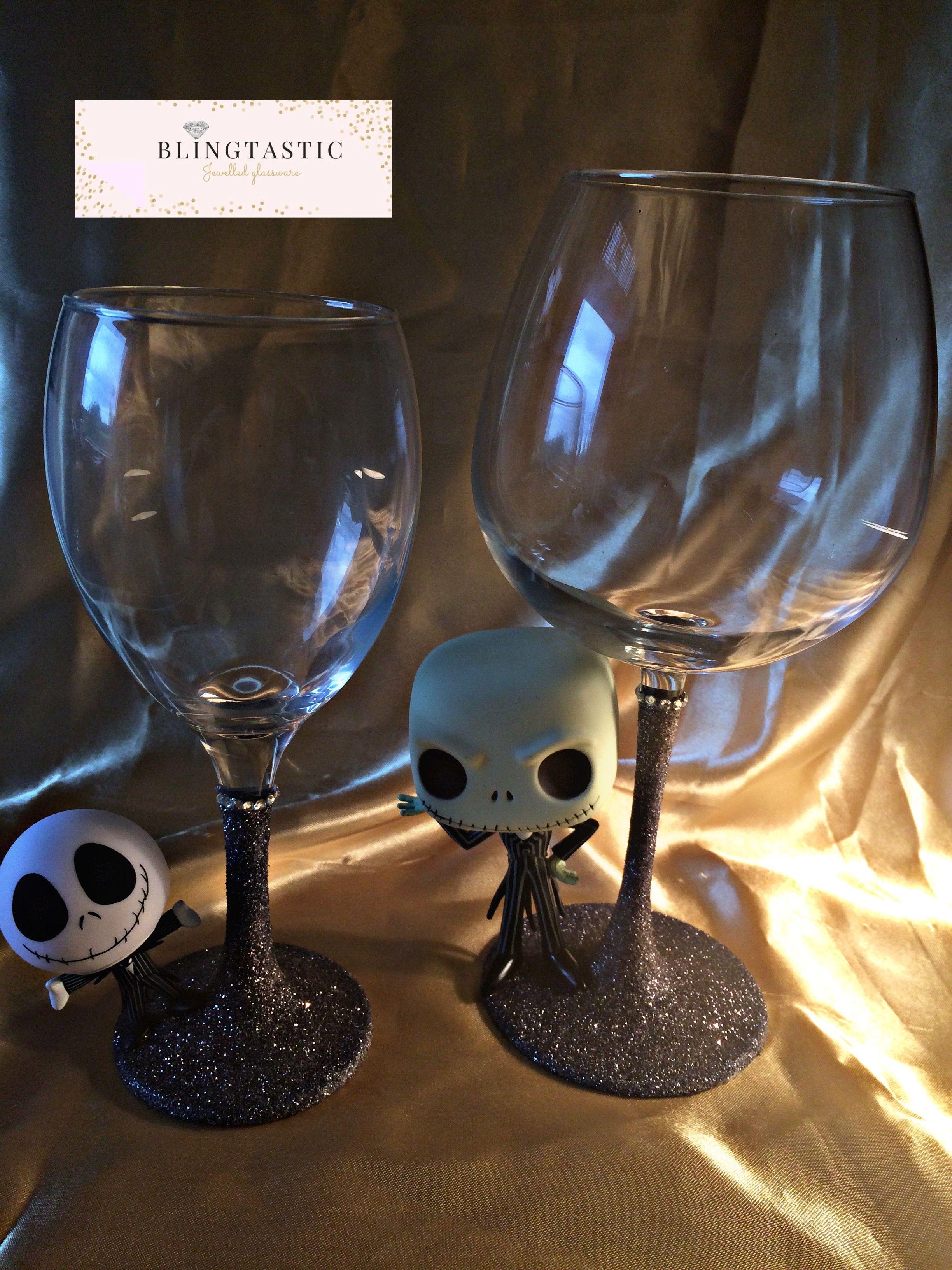 Jack Skellington skull wine glasses | Wine | Nightmare Before ...