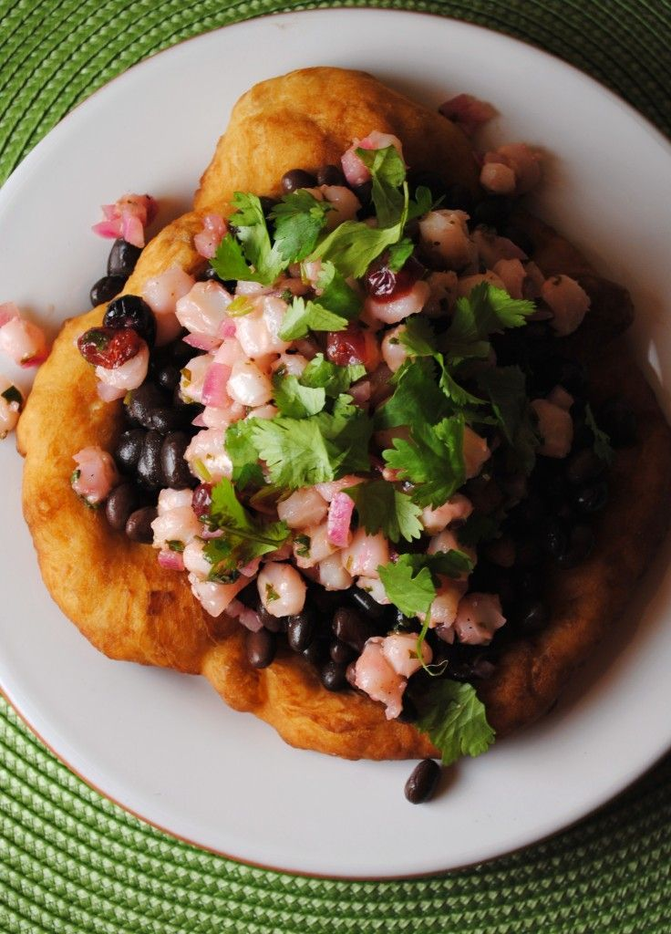 Traditional indian frybread taco with hominy salsa indian food forumfinder Choice Image