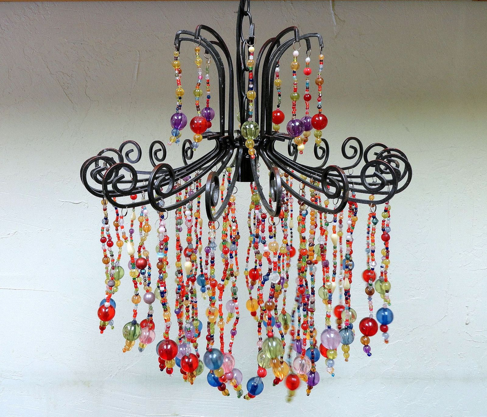 I Want To Make A Chandelier For The Guest Bedroom Unique Multi Colored Hand Made Beaded