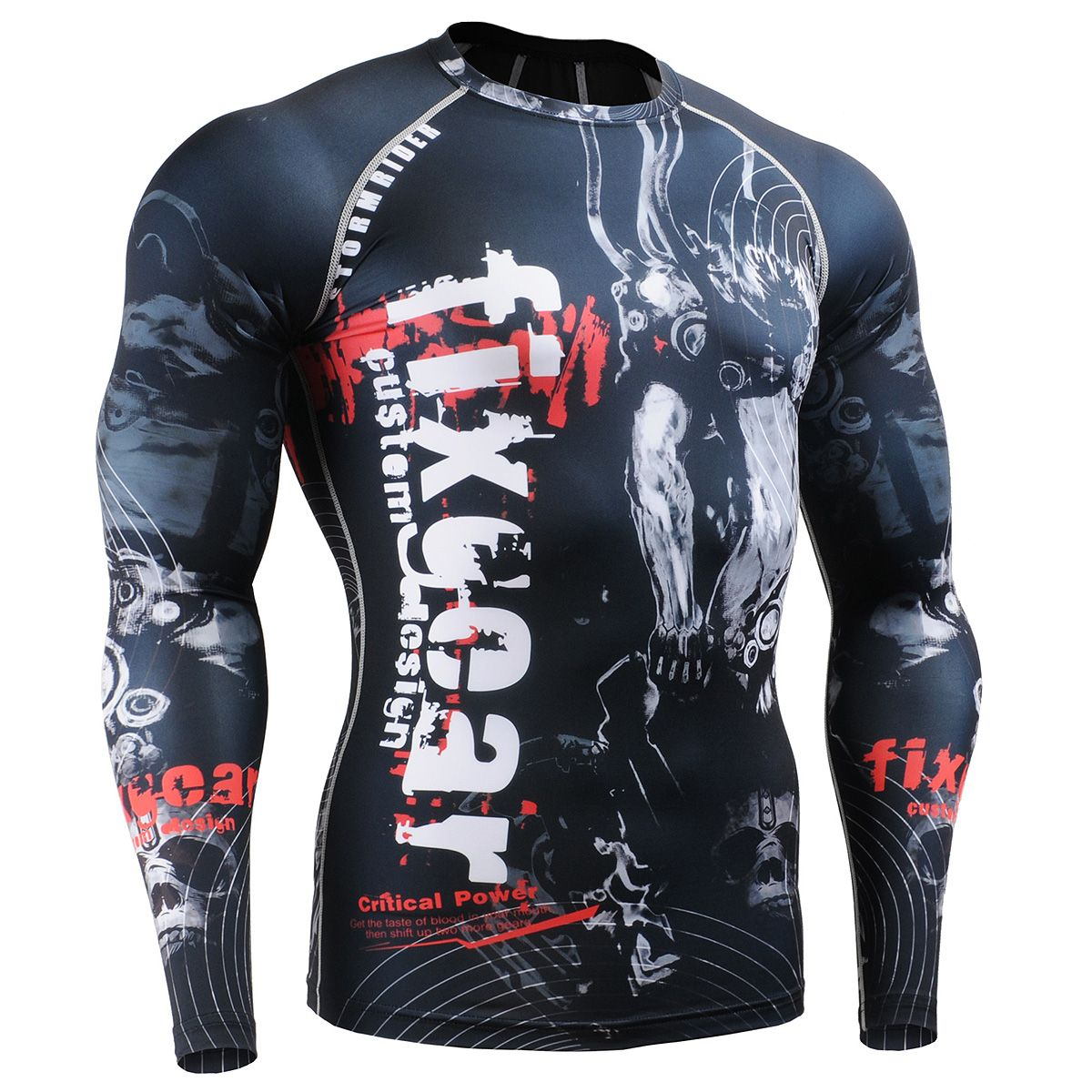New Mens Compression Shirts Gym Workout Running Shorts Tight Printed
