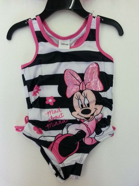 f280d56716 Disney Minnie Mouse swimsuit, bathing suit, white & black striped with Minnie  Mouse on the front & a matching terry cloth cover up @ www.