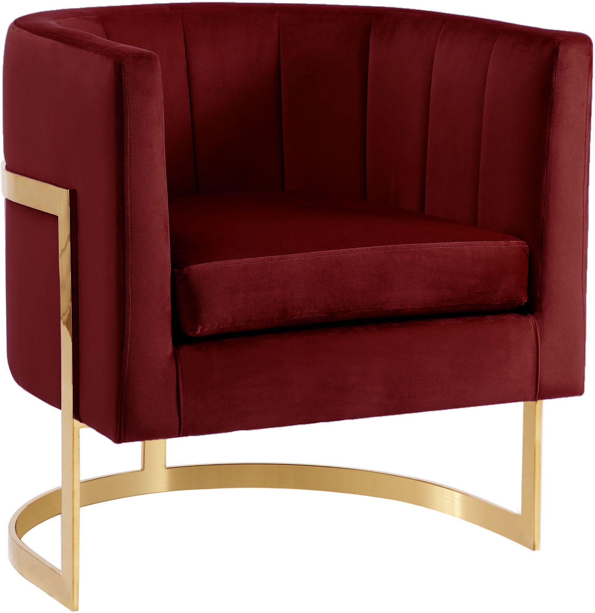 Best Meridian Carter Burgundy Velvet Fabric Contemporary Chair 400 x 300