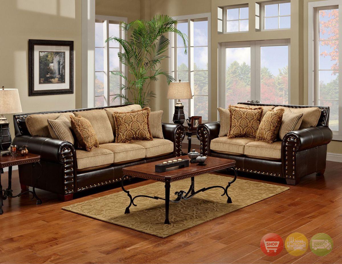 Traditional Brown Tan Living Room Furniture Set W Nailhead