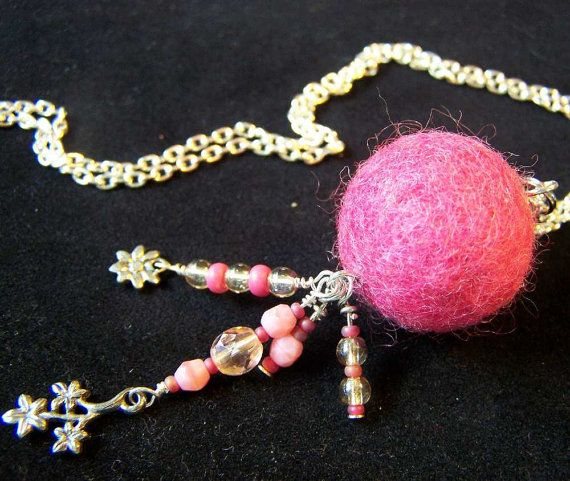 Felted Ball Necklace with Glass Beads & Charm by eweniquelyewe, $25.00