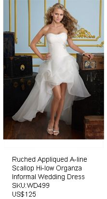 Chic Ruched Appliqued A-line Scallop Hi-low Desinged Organza Informal Wedding Dress