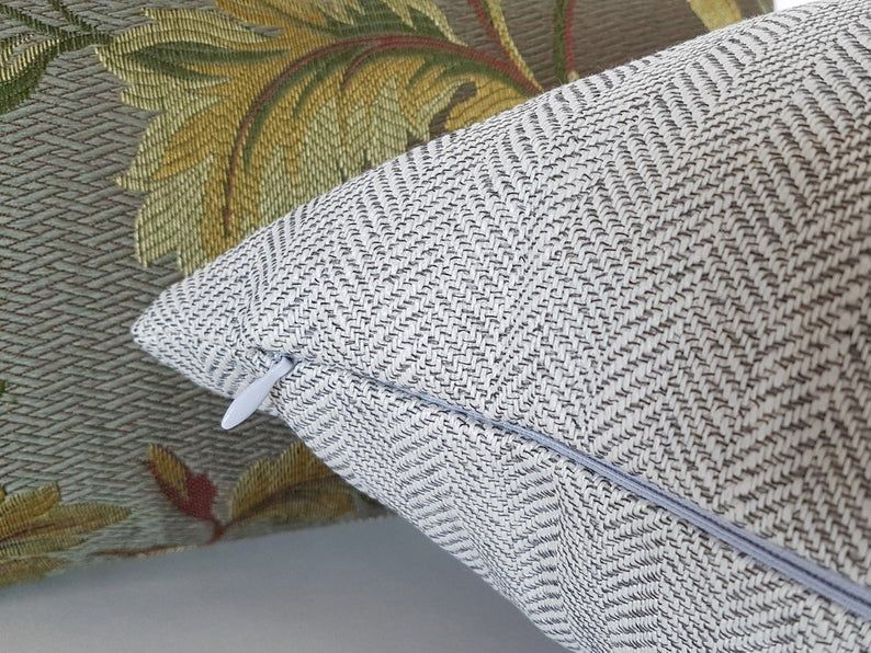 Herringbone pillows light gray pillow cushion covers grey