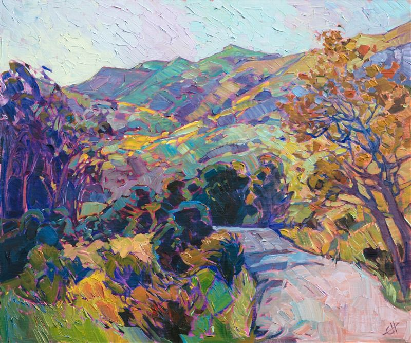 Oil painting of Carmel California scenery with colorful hills and