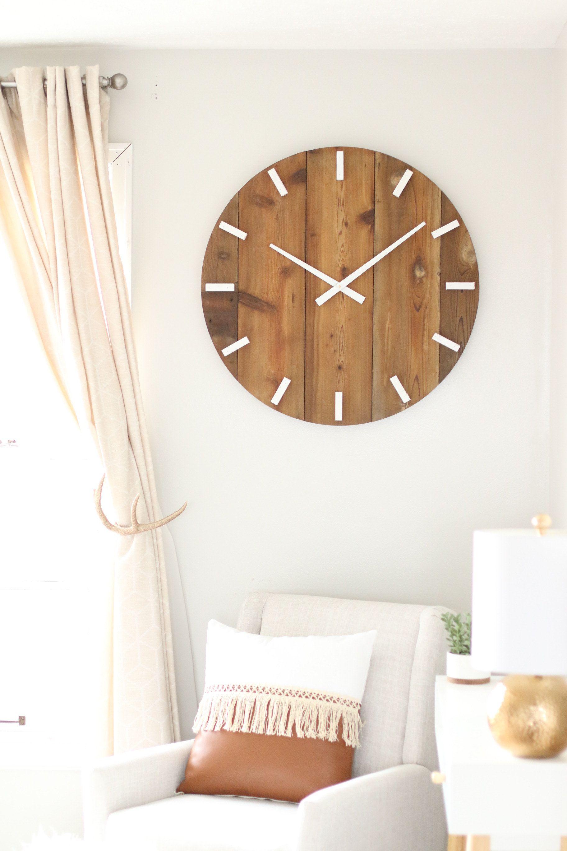 Large Wall Clock Mid Century Modern Boho Decor Neutral Ets