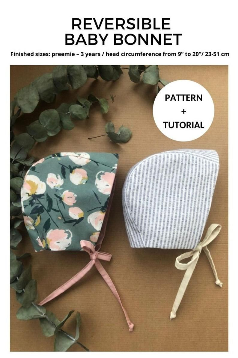 INSTANT DOWNLOAD Reversible Baby Bonnet Pattern & Tutorial Baby Hat Pattern Download DIY Template Newborn Cotton Bonnet How to make