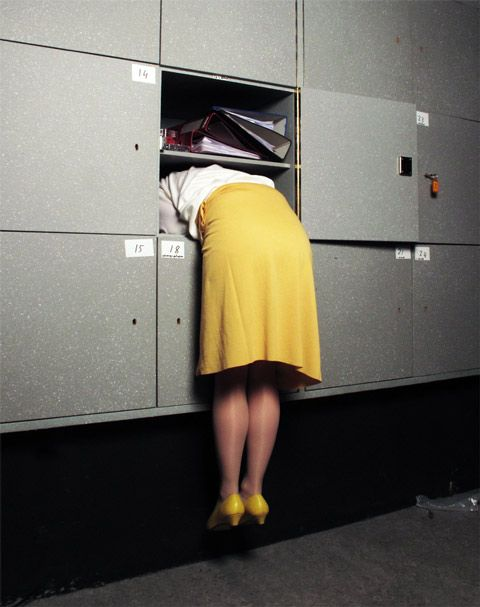 "Isabelle Wenzel: Building Images - Great Story Starter...""Why is this woman hanging out of this locker?"""