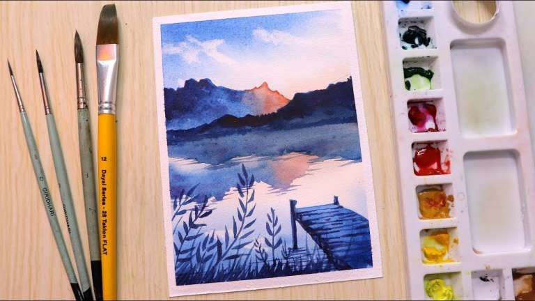 15 Beginning Mountain Landscape Drawing With Watercolor Scenery