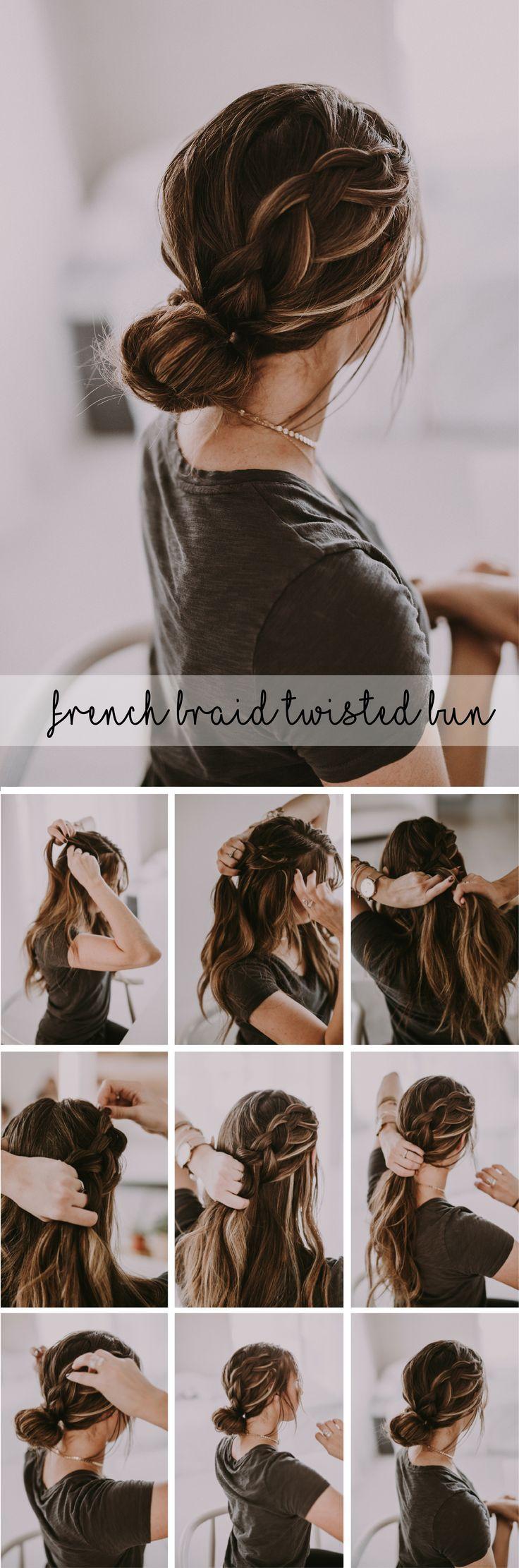 French braid bun tutorials hair and beauty pinterest twist bun