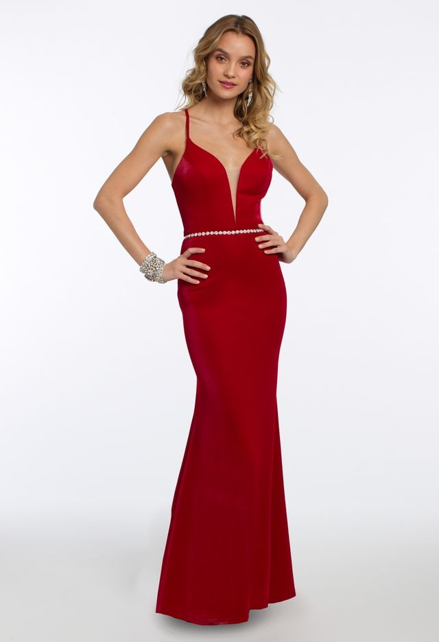 76a2a462b2a Be a class act in this simple evening gown: the fabulous plunging neckline,  fitted bodice with beaded waistband detailing, subtle mermaid skirt and  lace up ...