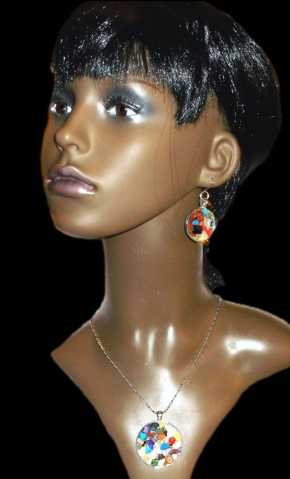 7 Chakra Natural Gemstone Pendant and Earrings by LoriKCreations