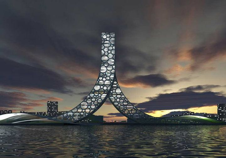 """Ren Building As we all know, Chinese characters evolved from pictures, this one """"人"""" in particular from a picture of a man walking.  The building becomes the Chinese sign for 'The People', and a recognizable landmark for the World Expo in China."""