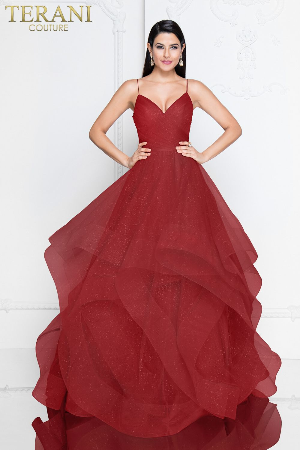 4d6f64a3d17 Long prom ball gown. Spaghetti straps with trimmed glitter tulle. Available  in Champagne