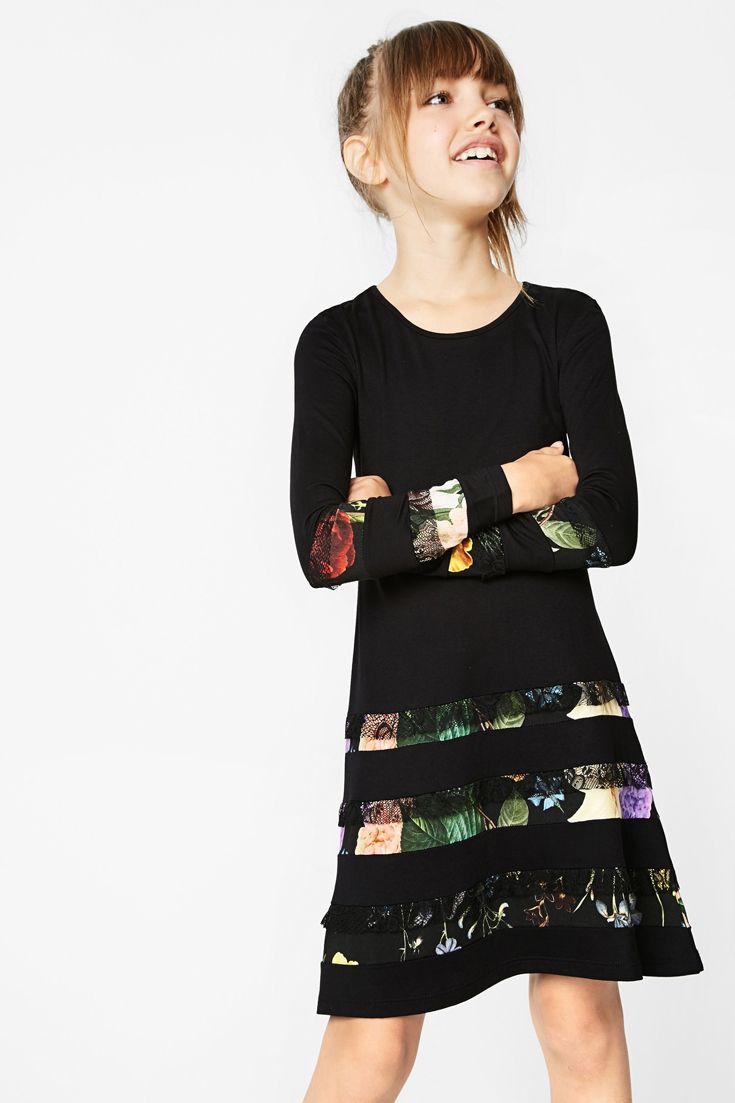 desigual girls u0027 long sleeved black dress with layered effect