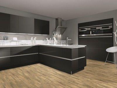 Moderne Zwarte Keuken : Deze zwarte keuken wordt mooi onderbroken doordat we geen gebruik