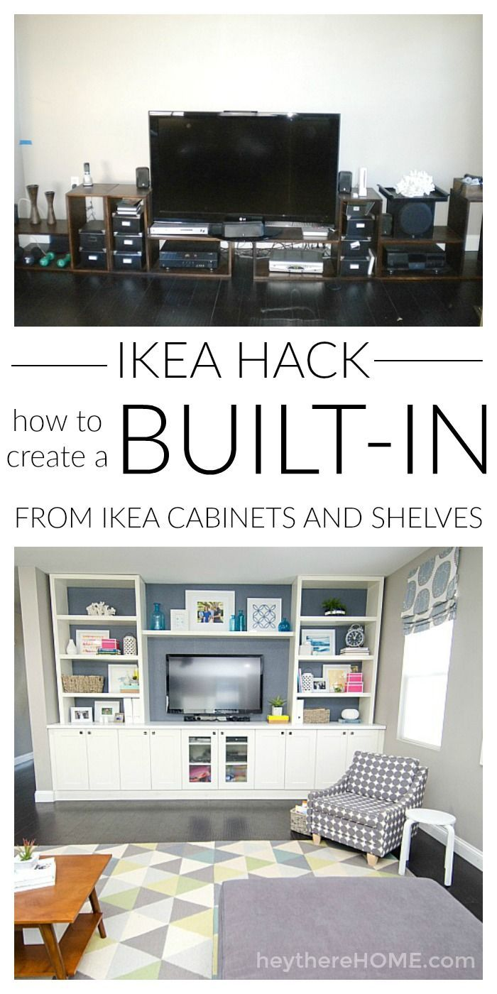 DIY built-in using IKEA cabinets and shelves | Ikea cabinets, Ikea ...