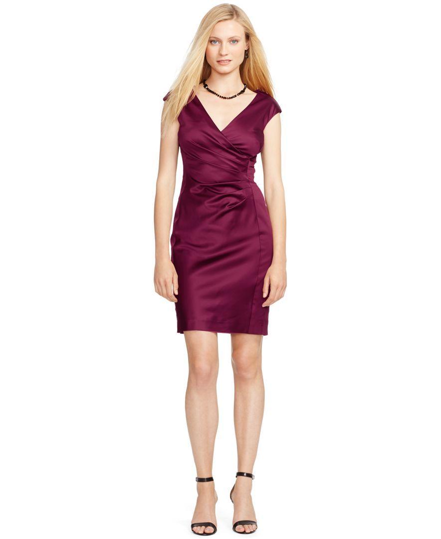 Lauren Ralph Lauren Stretch-Satin Surplice Dress - Dresses - Women - Macy's