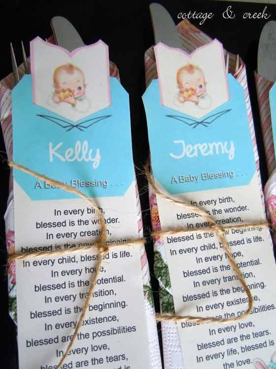 I transformed a vintage bookmark from a Gibson Baby Record Book using Photoshop.  I personalized them with each guests name and a sweet baby blessing and securing the silverware and napkin with it. #babyrecordbook I transformed a vintage bookmark from a Gibson Baby Record Book using Photoshop.  I personalized them with each guests name and a sweet baby blessing and securing the silverware and napkin with it. #babyrecordbook I transformed a vintage bookmark from a Gibson Baby Record Book using Ph #babyrecordbook