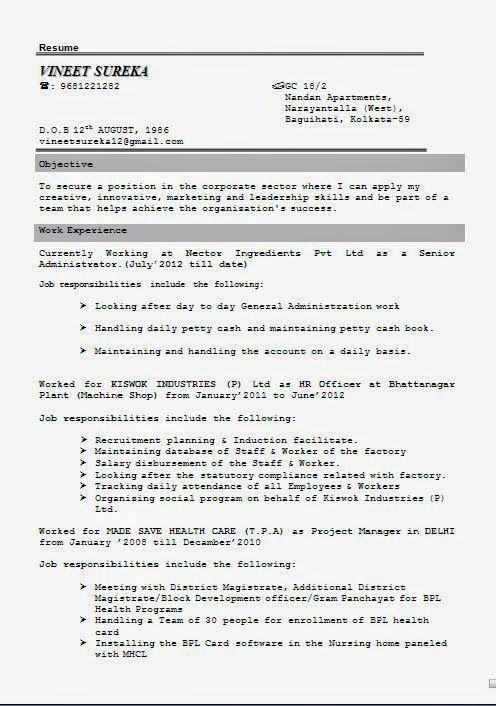 BCom Experience Resume Sample Template Example Ofexcellent