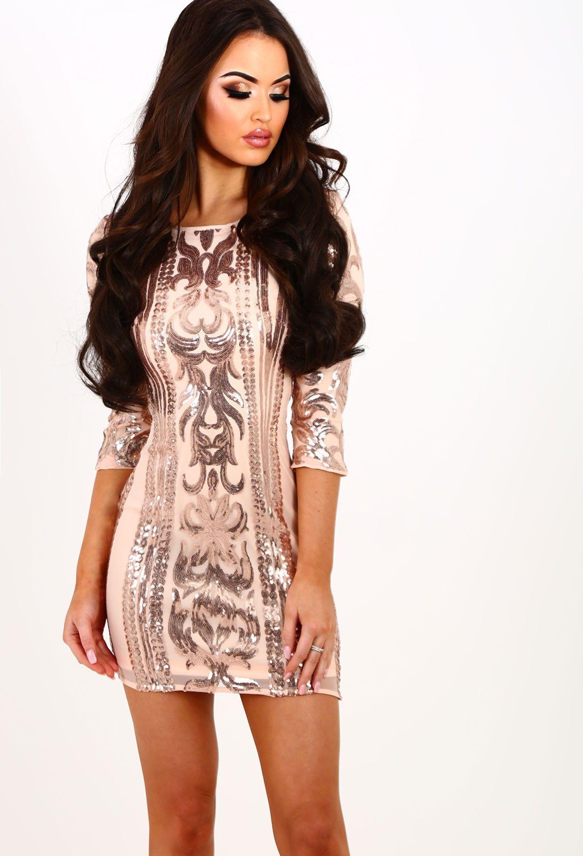 84377dba69c Higher Love Rose Gold Sequin Mini Dress