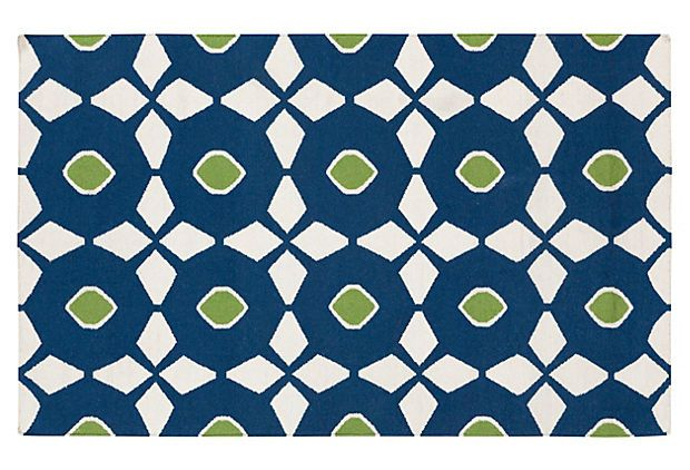 Hera Flat-Weave Rug, Blue on OneKingsLane.com An easy way to inject a little playful pattern into your space? Start with your foundation.