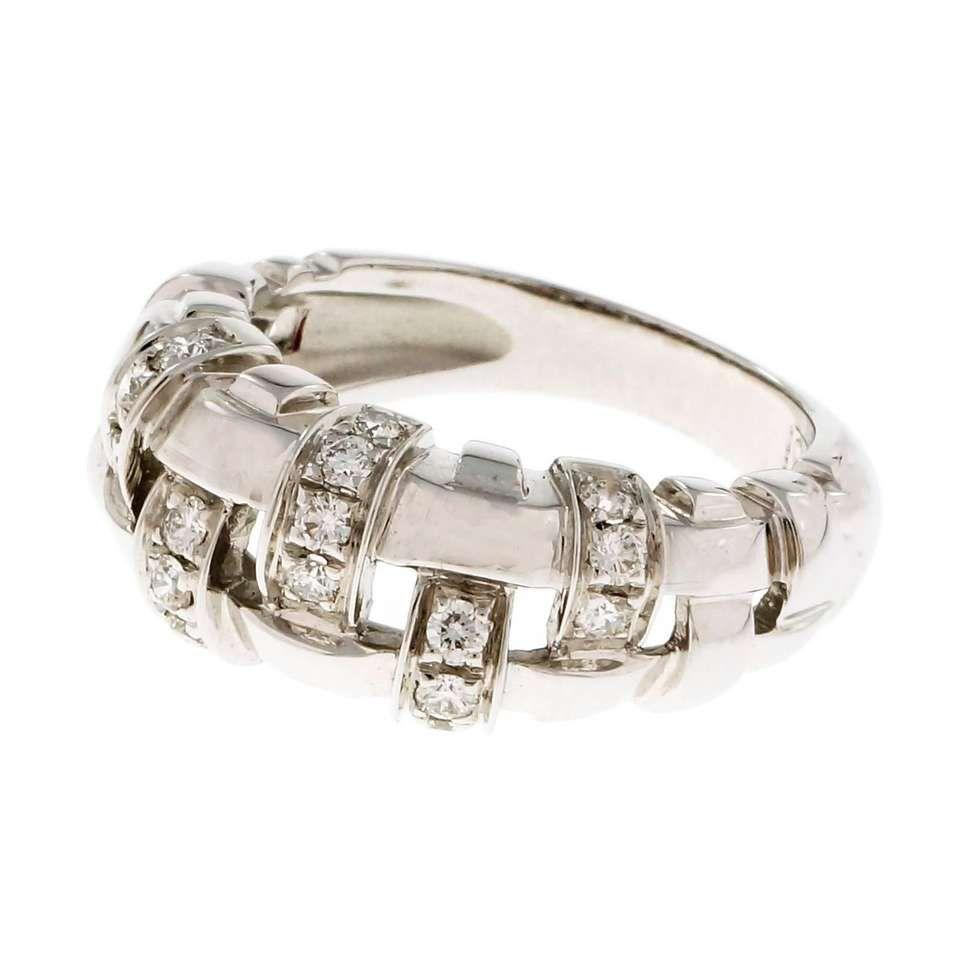 Tiffany & Co. Diamond Basket Weave Gold Ring 1