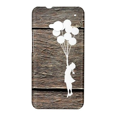 Wooden Style HTC ONE M7 Case Cover Banksy Balloon Girl on Vintage Wood HTC One Case