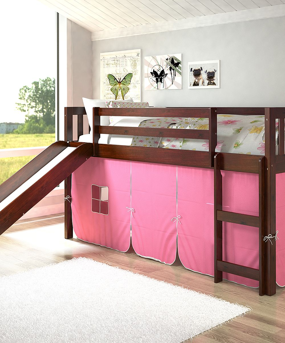 Full loft bed with slide  Pink Tent Mission Low Loft Twin Bed u Slide  Loft twin bed and Products