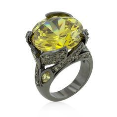 Hematite Bonded to Lead Free Alloy Large Cocktail Ring with Round and Marquise Cut Yellow Cubic Zirconia in Blacktone