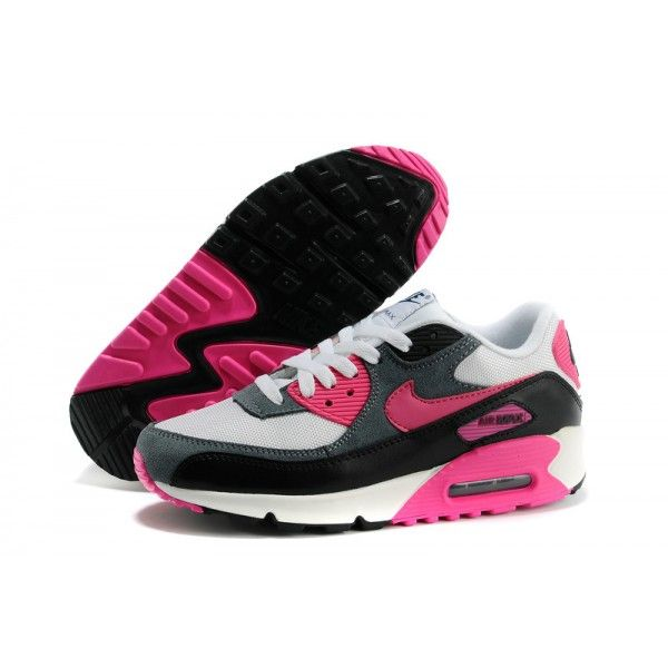 the latest 1e23c 0411d Womens Nike Air Max 90 Essential White Pink Foil Black Dark Armory Black  Sneakers