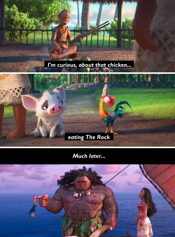 In Moana, A Villager Foreshadows The Chicken's Unsuccessful Attempt To Consume Maui