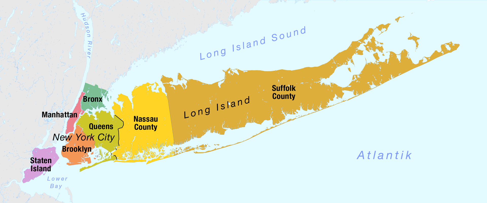 Map Of Long Island New York Map of the Boroughs of New York City and the counties of Long