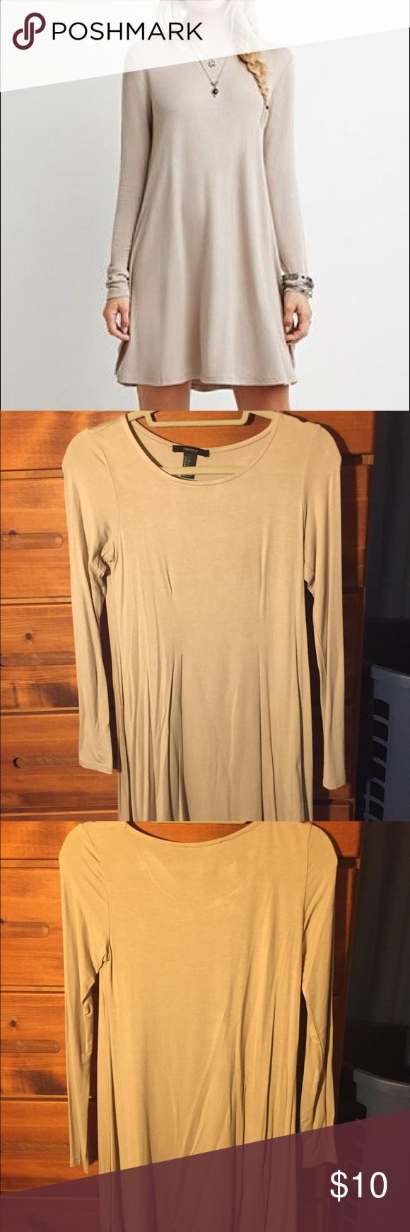 Forever long sleeved tan jersey dress my posh picks pinterest