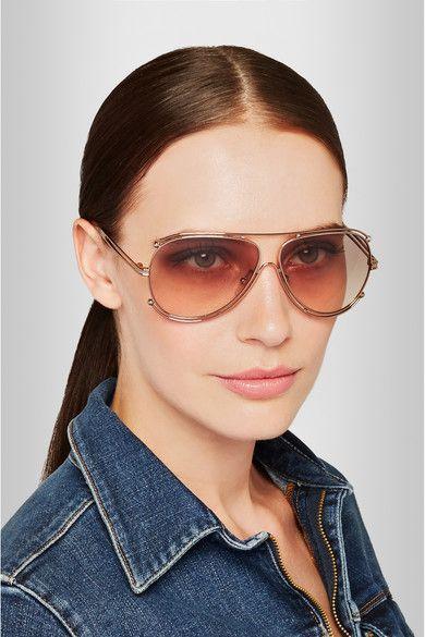 b4c455472fec6 Chloé - Isidora aviator-style gold-tone sunglasses