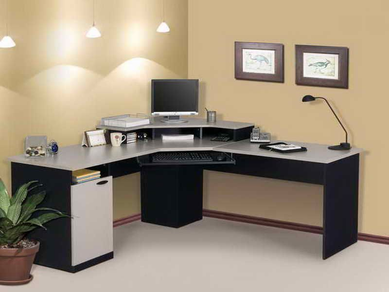 Modern Corner Computer Desk With L Shaped And White Top And