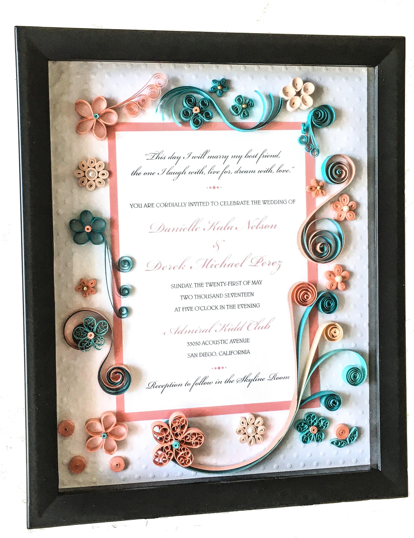 Quilled Wedding Invitation Gift - Keepsake Framed Shadowbox ...