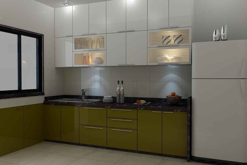 Large kitchen with glass window by Mahendra Jadeja, Interior ...
